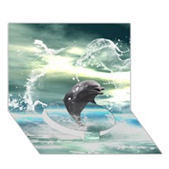 Funny Dolphin Jumping By A Heart Made Of Water Circle Bottom 3D Greeting Card (7x5)