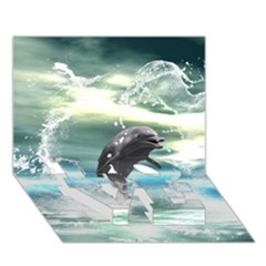 Funny Dolphin Jumping By A Heart Made Of Water LOVE Bottom 3D Greeting Card (7x5)