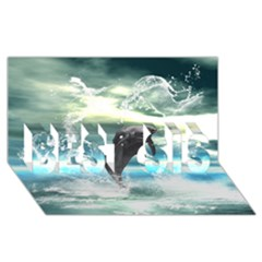 Funny Dolphin Jumping By A Heart Made Of Water Best Sis 3d Greeting Card (8x4)