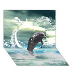 Funny Dolphin Jumping By A Heart Made Of Water Circle 3D Greeting Card (7x5)
