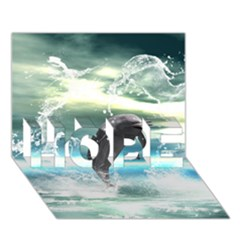 Funny Dolphin Jumping By A Heart Made Of Water HOPE 3D Greeting Card (7x5)