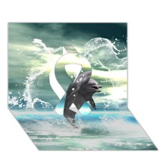 Funny Dolphin Jumping By A Heart Made Of Water Ribbon 3d Greeting Card (7x5)