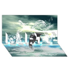 Funny Dolphin Jumping By A Heart Made Of Water PARTY 3D Greeting Card (8x4)