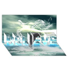 Funny Dolphin Jumping By A Heart Made Of Water Believe 3d Greeting Card (8x4)