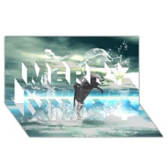 Funny Dolphin Jumping By A Heart Made Of Water Merry Xmas 3d Greeting Card (8x4)