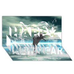 Funny Dolphin Jumping By A Heart Made Of Water Happy New Year 3D Greeting Card (8x4)