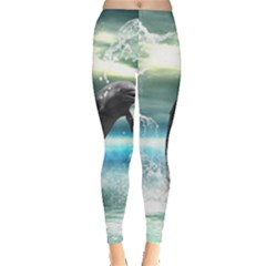 Funny Dolphin Jumping By A Heart Made Of Water Women s Leggings