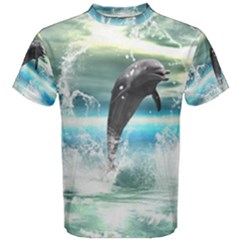 Funny Dolphin Jumping By A Heart Made Of Water Men s Cotton Tees