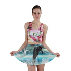 Funny Dolphin Jumping By A Heart Made Of Water Mini Skirts