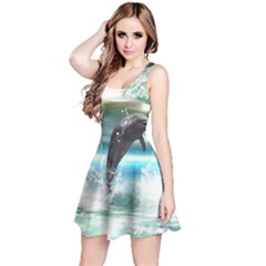 Funny Dolphin Jumping By A Heart Made Of Water Reversible Sleeveless Dresses