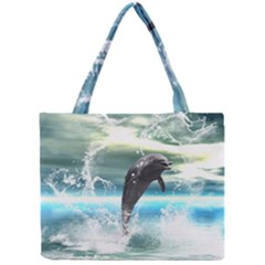 Funny Dolphin Jumping By A Heart Made Of Water Tiny Tote Bags