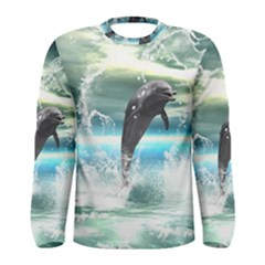 Funny Dolphin Jumping By A Heart Made Of Water Men s Long Sleeve T-shirts