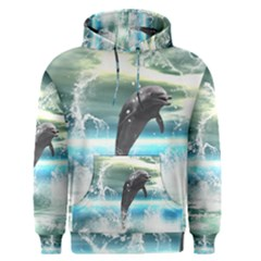 Funny Dolphin Jumping By A Heart Made Of Water Men s Pullover Hoodies