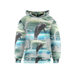 Funny Dolphin Jumping By A Heart Made Of Water Kid s Pullover Hoodies