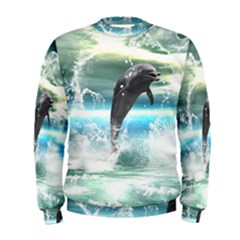 Funny Dolphin Jumping By A Heart Made Of Water Men s Sweatshirts