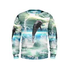 Funny Dolphin Jumping By A Heart Made Of Water Boys  Sweatshirts