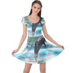 Funny Dolphin Jumping By A Heart Made Of Water Cap Sleeve Dresses