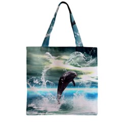 Funny Dolphin Jumping By A Heart Made Of Water Zipper Grocery Tote Bags