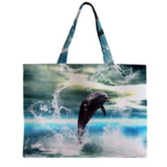 Funny Dolphin Jumping By A Heart Made Of Water Zipper Tiny Tote Bags