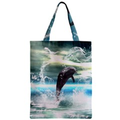 Funny Dolphin Jumping By A Heart Made Of Water Zipper Classic Tote Bags