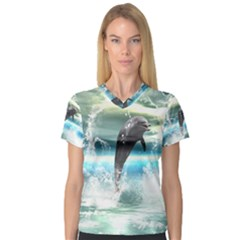 Funny Dolphin Jumping By A Heart Made Of Water Women s V-Neck Sport Mesh Tee