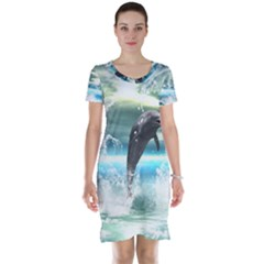 Funny Dolphin Jumping By A Heart Made Of Water Short Sleeve Nightdresses
