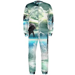Funny Dolphin Jumping By A Heart Made Of Water Onepiece Jumpsuit (men)
