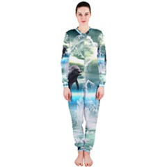 Funny Dolphin Jumping By A Heart Made Of Water OnePiece Jumpsuit (Ladies)