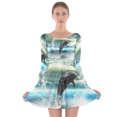 Funny Dolphin Jumping By A Heart Made Of Water Long Sleeve Skater Dress