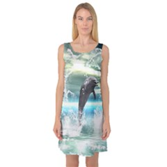 Funny Dolphin Jumping By A Heart Made Of Water Sleeveless Satin Nightdresses