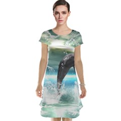 Funny Dolphin Jumping By A Heart Made Of Water Cap Sleeve Nightdresses
