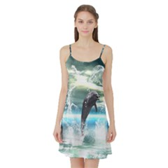 Funny Dolphin Jumping By A Heart Made Of Water Satin Night Slip