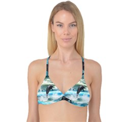Funny Dolphin Jumping By A Heart Made Of Water Reversible Tri Bikini Tops