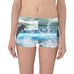 Funny Dolphin Jumping By A Heart Made Of Water Reversible Boyleg Bikini Bottoms
