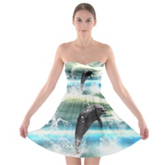 Funny Dolphin Jumping By A Heart Made Of Water Strapless Bra Top Dress