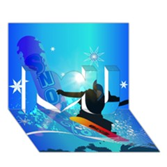 Snowboarding I Love You 3d Greeting Card (7x5)