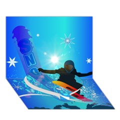 Snowboarding Heart Bottom 3d Greeting Card (7x5)