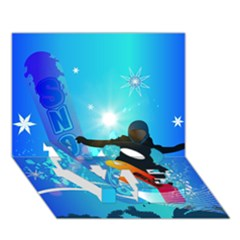 Snowboarding LOVE Bottom 3D Greeting Card (7x5)