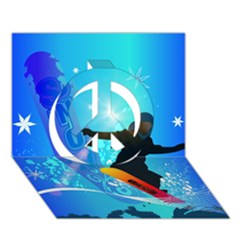 Snowboarding Peace Sign 3D Greeting Card (7x5)
