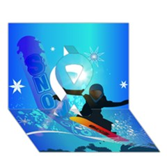 Snowboarding Ribbon 3D Greeting Card (7x5)