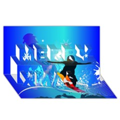 Snowboarding Merry Xmas 3D Greeting Card (8x4)