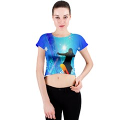 Snowboarding Crew Neck Crop Top