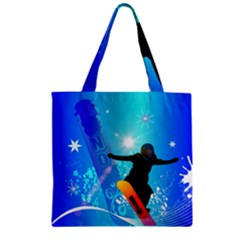 Snowboarding Zipper Grocery Tote Bags