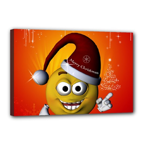 Cute Funny Christmas Smiley With Christmas Tree Canvas 18  x 12