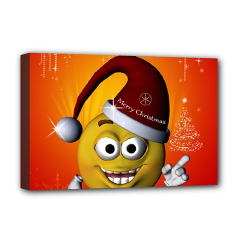 Cute Funny Christmas Smiley With Christmas Tree Deluxe Canvas 18  x 12