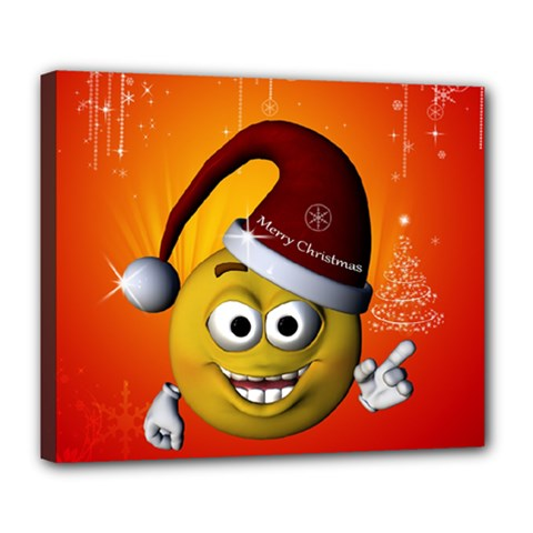 Cute Funny Christmas Smiley With Christmas Tree Deluxe Canvas 24  x 20