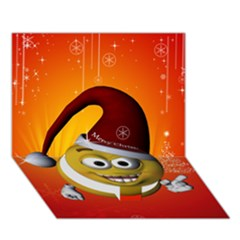Cute Funny Christmas Smiley With Christmas Tree Circle Bottom 3d Greeting Card (7x5)
