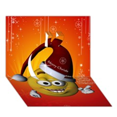 Cute Funny Christmas Smiley With Christmas Tree Apple 3d Greeting Card (7x5)