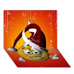 Cute Funny Christmas Smiley With Christmas Tree Ribbon 3d Greeting Card (7x5)