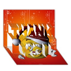 Cute Funny Christmas Smiley With Christmas Tree Thank You 3d Greeting Card (7x5)